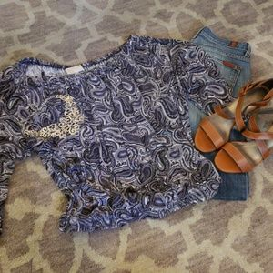 MICHAEL KORS ON/OFF SHOULDER  BLUE PAISLEY TOP